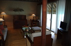 Lounge in our overwater bungalow